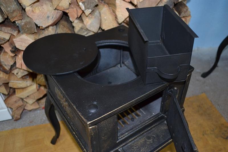 gusseisen herd kaminofen 3 5 kw w rmeleistung kamin heizofen alt gold ca013 ebay. Black Bedroom Furniture Sets. Home Design Ideas